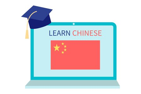 Online Chinese Learning, distance education concept. Language training and courses. Studying foreign languages on a website in a laptop. Vector in flat design
