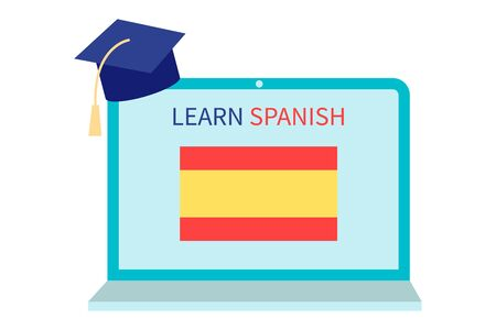 Online Spanish Learning, distance education concept. Language training and courses. Studying foreign languages on a website in a laptop. Vector illustration in flat design isolated on white background Ilustrace