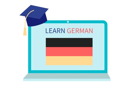 Online German Learning, distance education concept. Language training and courses. Studying foreign languages on a website in a laptop. Vector in flat design Ilustrace