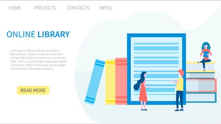 Online library, e-book, digital book store, e-reading, online learning, education concept. Landing page template. Vector illustration in flat design for web and graphic design