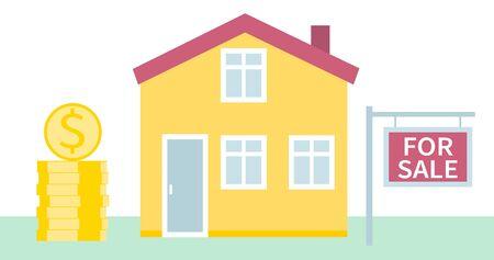 Haus zu verkaufen. Immobiliengeschäftskonzept mit Häusern. Das Haus und das Schild mit den Informationen. Vektorillustration im flachen Stil