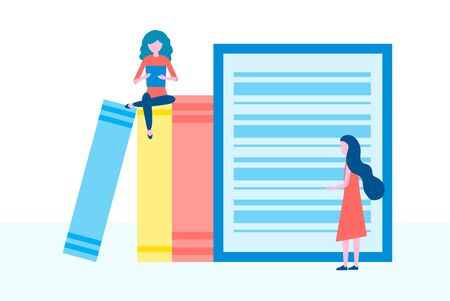 Online library, e-books, digital book store, e-reading, online learning, education concept. People group reading books, Vector illustration in flat design