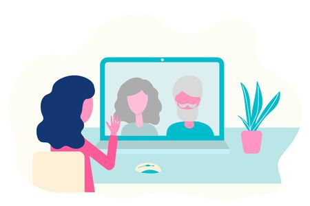 Video conference. Elderly parents, grandparents, grandfather, grandmother on computer screen talking, virtual meeting. Online communication vector concept in flat desig