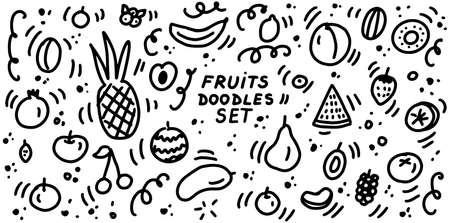 Fruits doodles icon set. ollection of sketches of fruits and berries. Hand drawn lines cartoon icons set. For restaurants, cafes, menu, textile prints, web and graphic design. Vector illustration