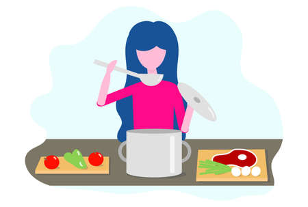 Woman cooking in the kitchen. Vector illustration in flat design Concept of cooking courses, restaurants, cooking recipes