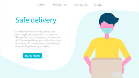 Safe delivery. Delivery Men in a medical face mask delivers a box. Online ordering of goods and food. The concept of contact free delivery, contactless shopping. Safe delivery. Web page design templates