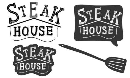 Steak house. templates set for grill restaurant. Lettering calligraphy illustration. Handwritten brush trendy black sticker with text isolated on white background. Label, badge, poster