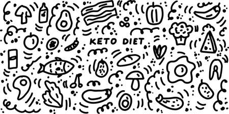 Keto doodle hand drawn illustrations. Ketogenic diet icon set. Organic food. Vector doodle illustration isolated on white background.