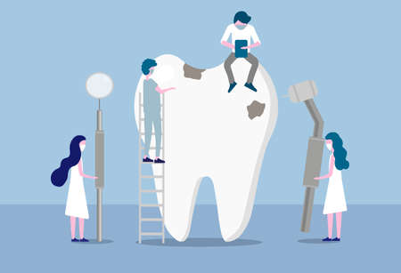 Small doctors who treat giant teeth with caries. Concept of dentistry, dental and medicine. Vector illustration in a flat design people character 일러스트