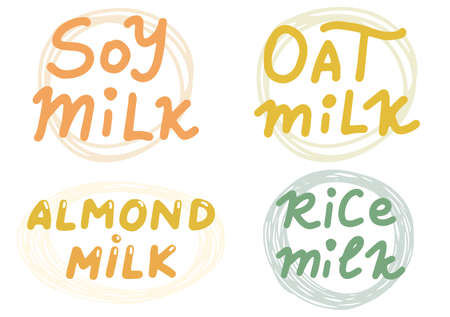 Soy, Almond, Oat, Rice Milk. Vector set or logos, labels, badges, stickers. Vector illustration isolation on white background. Organic eco healthy food
