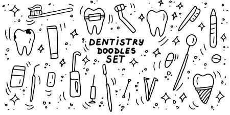 Dentistry doodles icon set. Hand drawn lines stomatology, dental, odontology cartoon collection. Teeth, dentures, orthodontic, dental instruments. Vector illustration