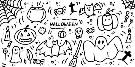 Halloween doodle elements collection. Hand drawn icon set. Pumpkin, Ghost, bat, cauldron, skull, spider web, witch s broom. Cartoon vector illustration isolated on white background