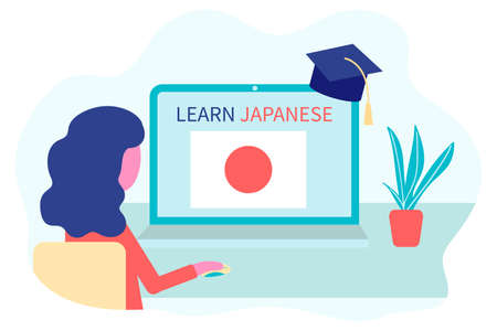 Online Japanese learning, distance education, learn concept. Language training and courses. Woman student studies foreign languages on a website in a laptop. Vector in flat design Vetores