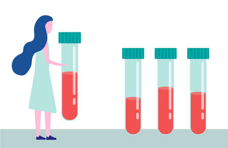 Blood test, dna test, medical examination. Woman carries a test tube with blood. The concept of medicine, examination, and analysis. Vector illustration in a flat style