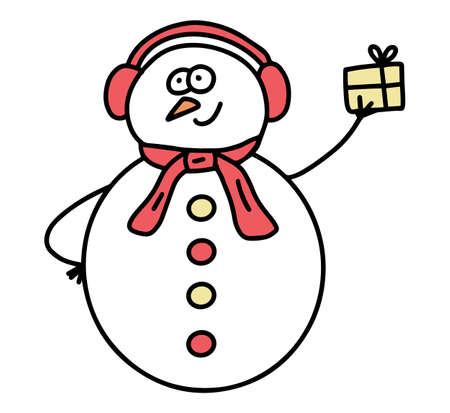 Cute cartoon Snowman. Hand drawn doodle frosty. Christmas and new year concept. Vector illustration isolation on white background.