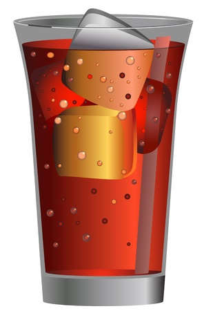 Cola Soda on Glass Vector