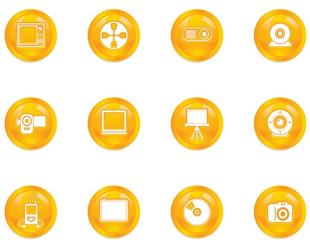 desk toy: Multimedia button  icons Illustration