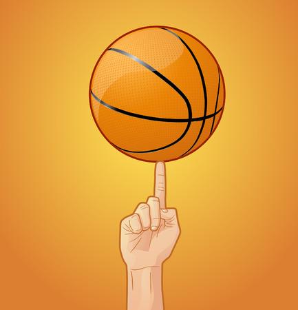 spinning: Basketball on finger spinning Illustration