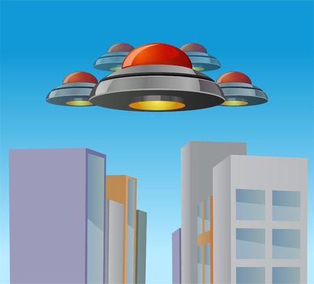 invading: Vector illustration of flying saucers invading a city Stock Photo