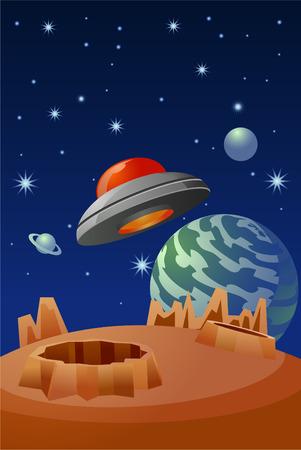 disco volante: Flying Saucer volare sopra una illustrazione pianeta