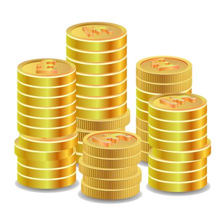 pound coins: Golden British sterling pound coins Stock Photo