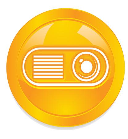audiovisual: Projector button icon Stock Photo