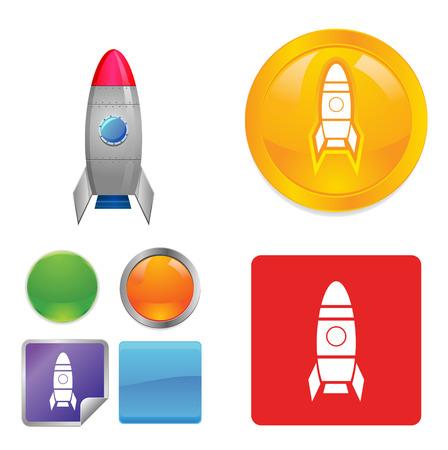 Rocket ship button icons photo