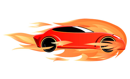 fire car: Burning speeding sports car vector image