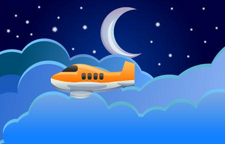 mosca caricatura: Avi�n que volaba imagen vectorial noche en
