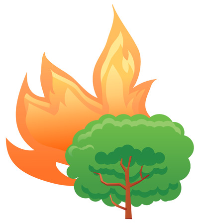 calamity: Tree or forest on fire vector icon