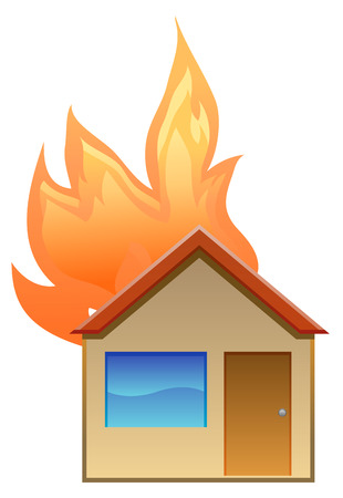 misfortune: House on fire vector icon