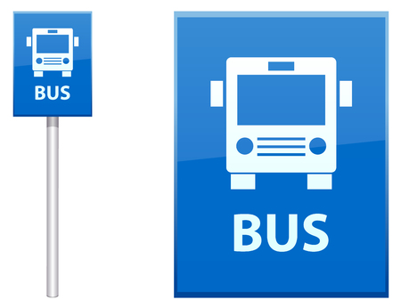 Bus Stop sign post vector icon Çizim