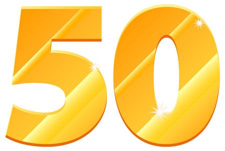 50: Gold 50 icon Illustration