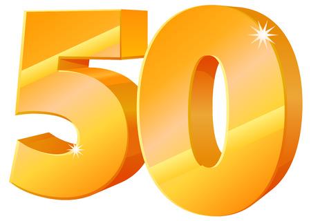Gouden 3D 50 icon Stock Illustratie