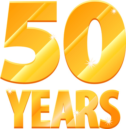 numbers clipart: Gold 50 years icon