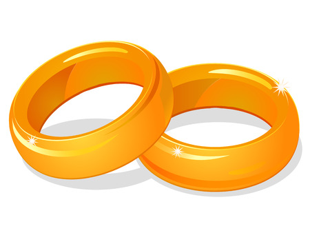 rich couple: Two gold rings icon Illustration