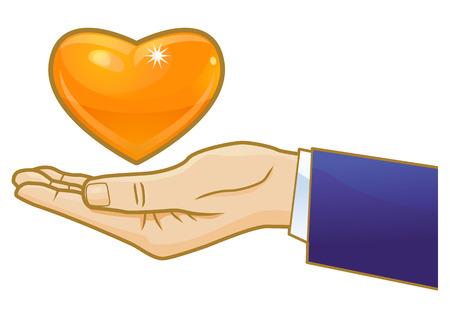 gold heart: Gold heart floating on hand illustration