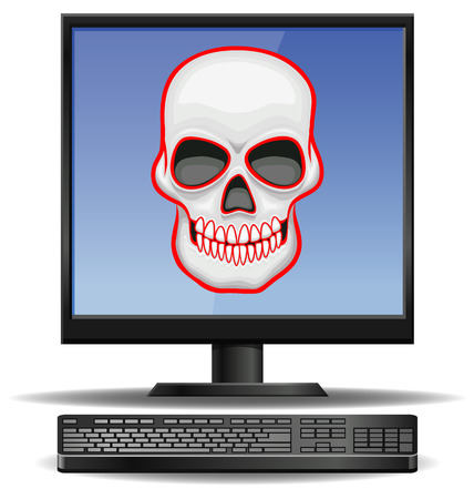 hacked: Computer threat with skull or death symbol icon Illustration