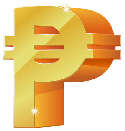 currency glitter: Gold Peso currency symbol icon Illustration