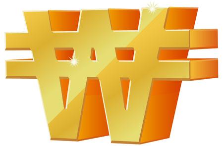 3D-Koreaanse Won valuta symbool pictogram Vector Illustratie