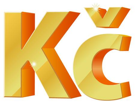 koruna: Gold 3D Czech Koruna currency symbol icon