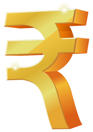 currency symbol: Gold 3D Indian Rupee currency symbol icon