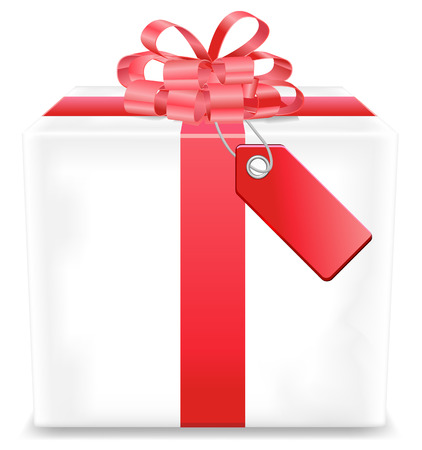 red gift box: White gift box or present with red tag