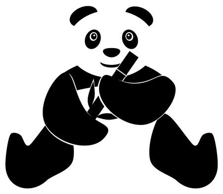 one panda: Panda eating bamboo icon Illustration
