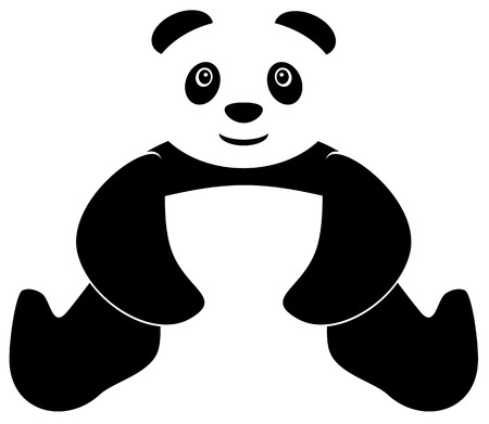 one panda: Sitting panda with two hands down icon Illustration