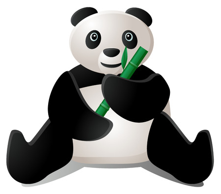 Panda eating bamboo icon Illustration