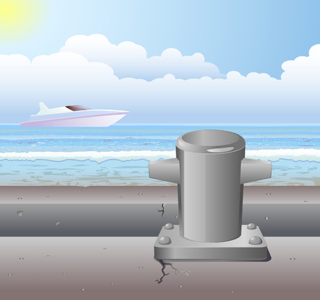 pier: Pier bollard and yacht ship on sky background vector Illustration