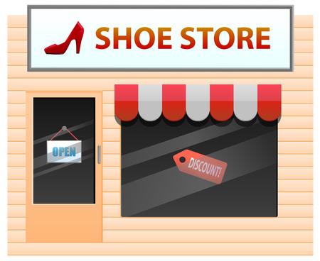 tienda de zapatos: Pequeña tienda de zapatos con el talón en la ilustración de señalización