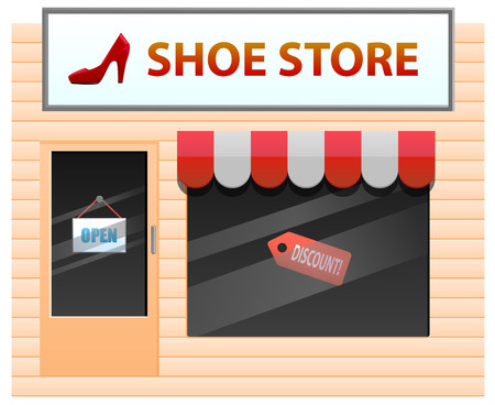 shoe store: Small shoe store with heel on the signage illustration Illustration