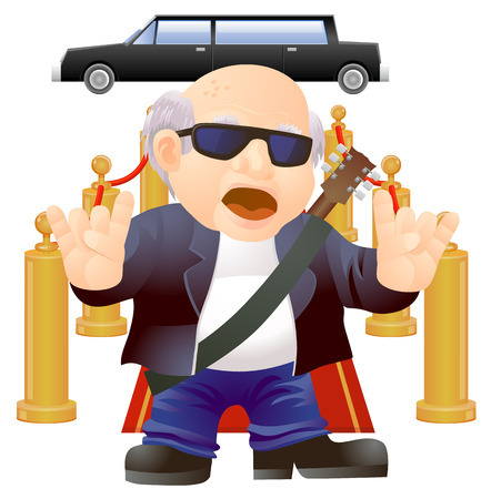 Rockstar treatment of old senior musician walking on red carpet vector